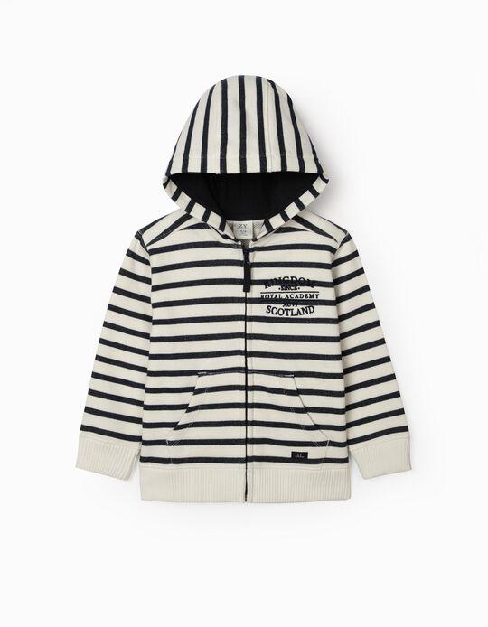 Striped Hooded Jacket for Boys, 'Scotland', White/Blue