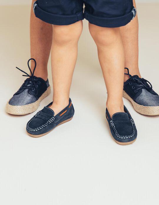 Sapatos de Camurça para Bebé Menino 'Loafers', Azul Escuro