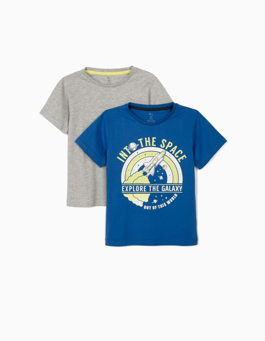 2 T-shirts for Boys 'Explore the Galaxy', Blue/Grey