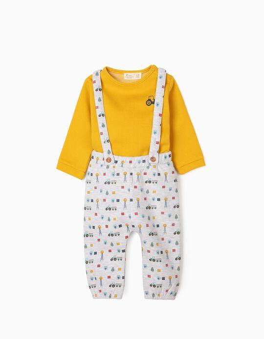 Ensemble nouveau-né 'Tracteur', jaune moutarde/gris