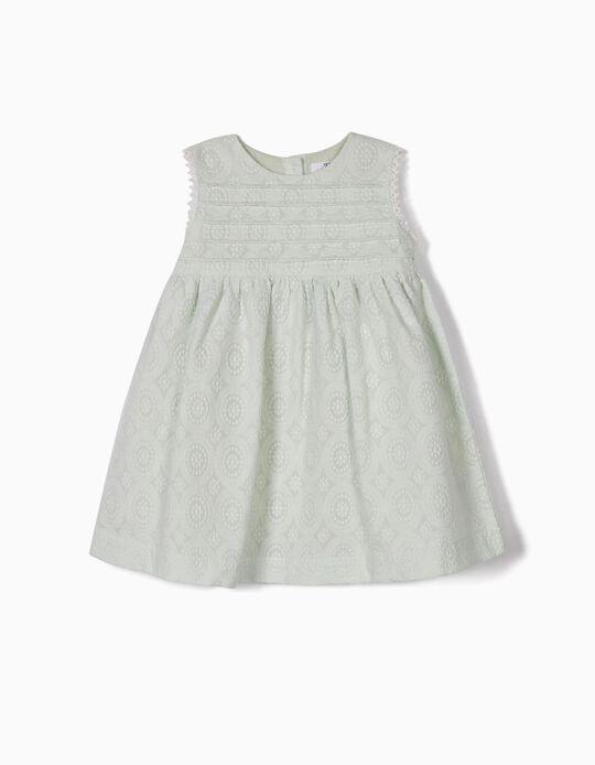 Vestido e Tapa-Fraldas para Bebé Menina com Bordados, Verde