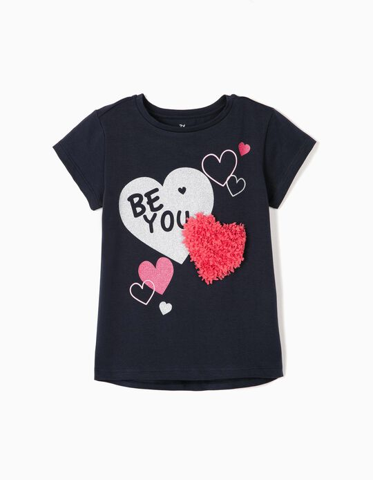 T-shirt for Girls 'Be You', Dark Blue