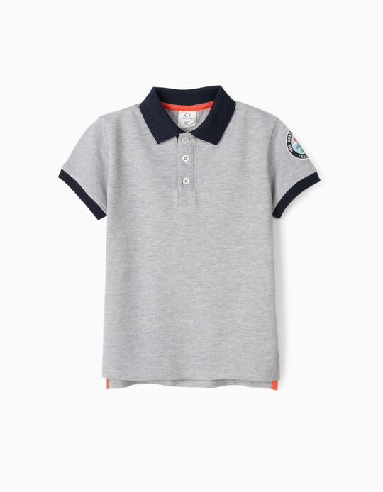 Piqué Knit Polo Shirt for Boys, 'Tree House', Grey/Dark Blue
