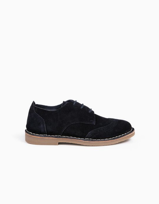 Suede Shoes with Laces for Boys, Dark Blue