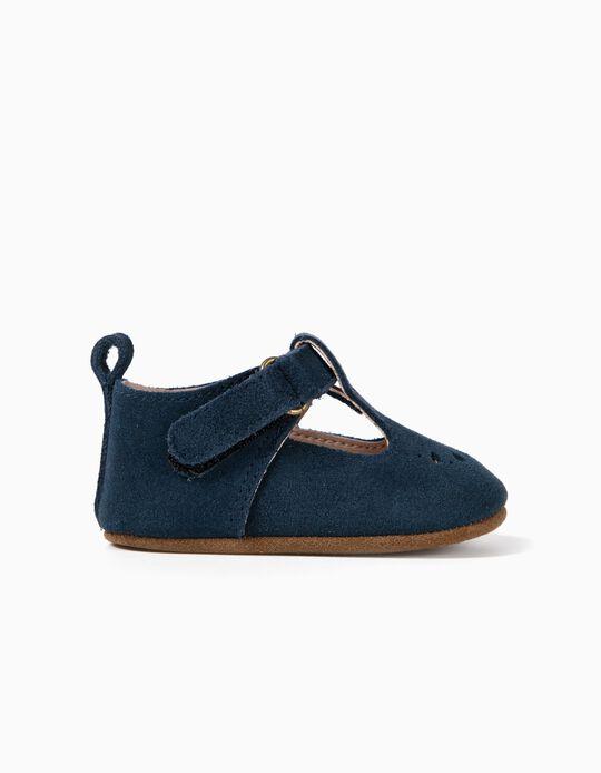 Zapatos de Ante para Recién Nacida, Azul Oscuro