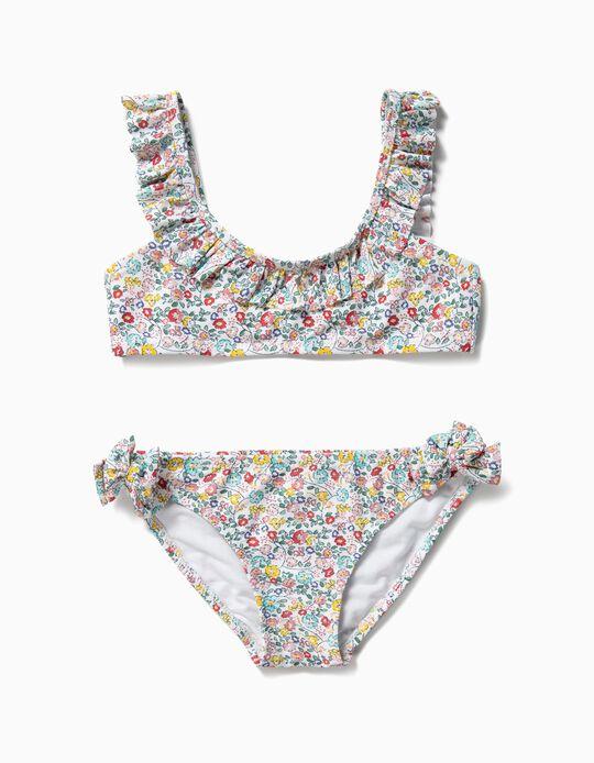 Bikini para Niña Flores Antirrayos UV 80, Blanco