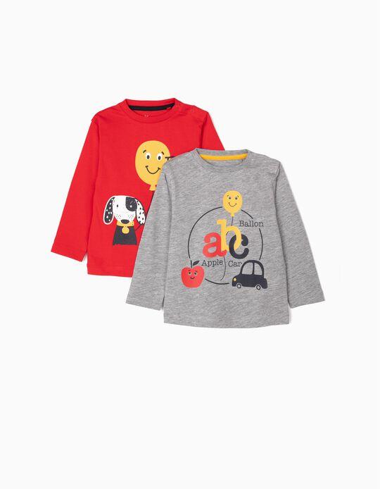 2 T-shirts Manga Comprida para Bebé Menino 'ABC', Vermelho/Cinza