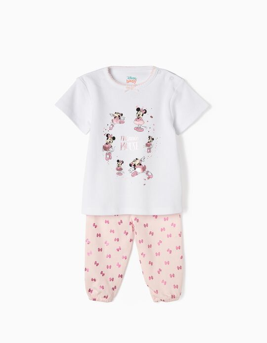 Pijama para Bebé Niña 'Minnie Bailarina', Blanco y Rosa