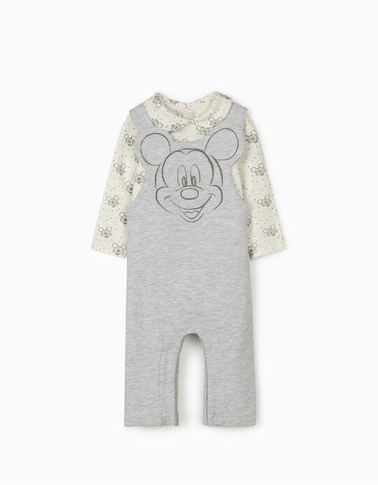Salopette et body nouveau-né 'Mickey', gris/blanc