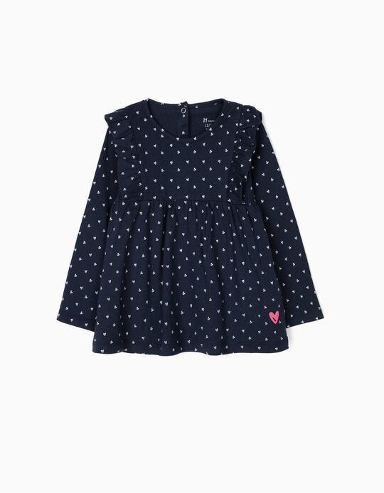 Camiseta de Manga Larga para Bebé Niña con Corazones, Azul