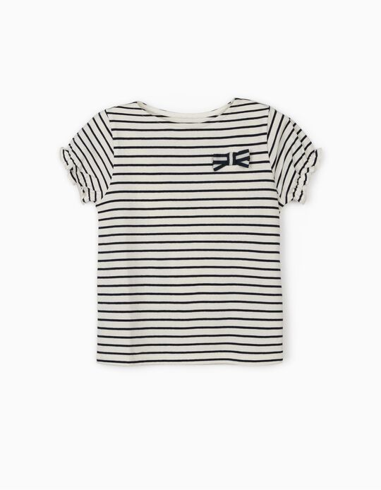 Striped T-shirt for Girls, Dark Blue/White