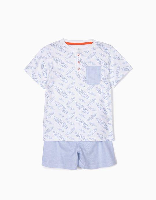 Pijama para Menino 'Surf & Stripes', Branco e Azul