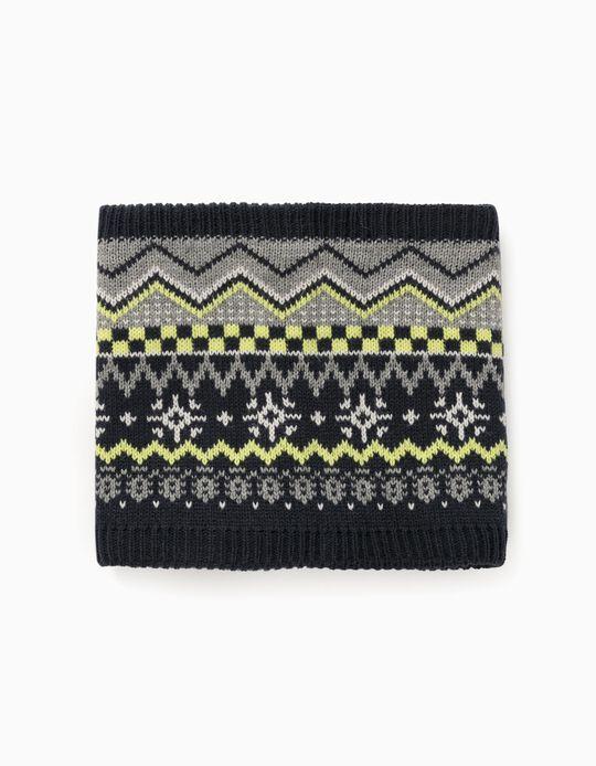 Jacquard Knit Snood for Boys, Dark Blue