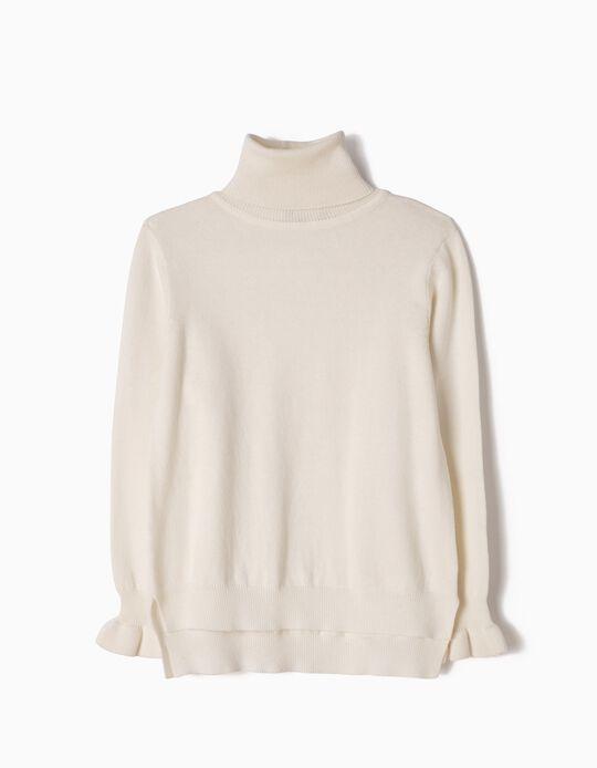 Jersey de Punto de Cuello Alto Blanco