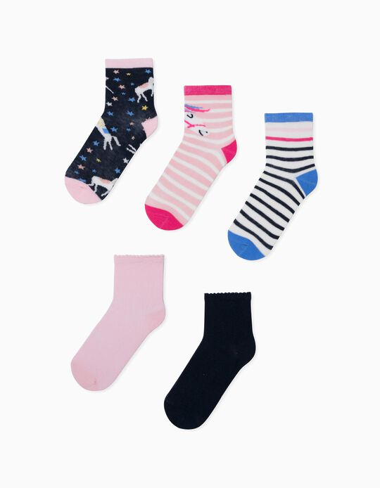5 Pairs of Socks for Girls, 'Unicorns', Multicoloured