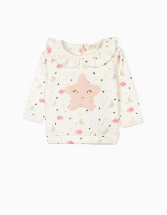 Sweat nouveau-née 'Star', blanc/rose