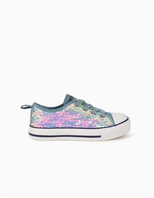 Zapatillas con Lentejuelas para Niña '50'S Sneaker', Azul Claro