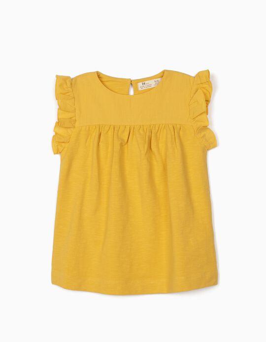 Chemisier bimatière fille, jaune