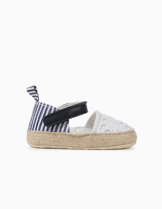 Sandálias para Recém-Nascida Riscas e Croché, Azul e Branco