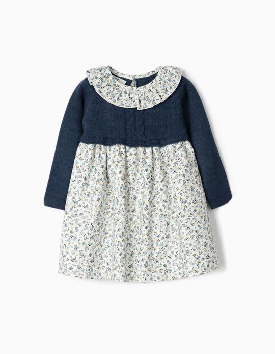 Vestido de Dos Materias para Bebé Niña 'Flores', Blanco/Azul