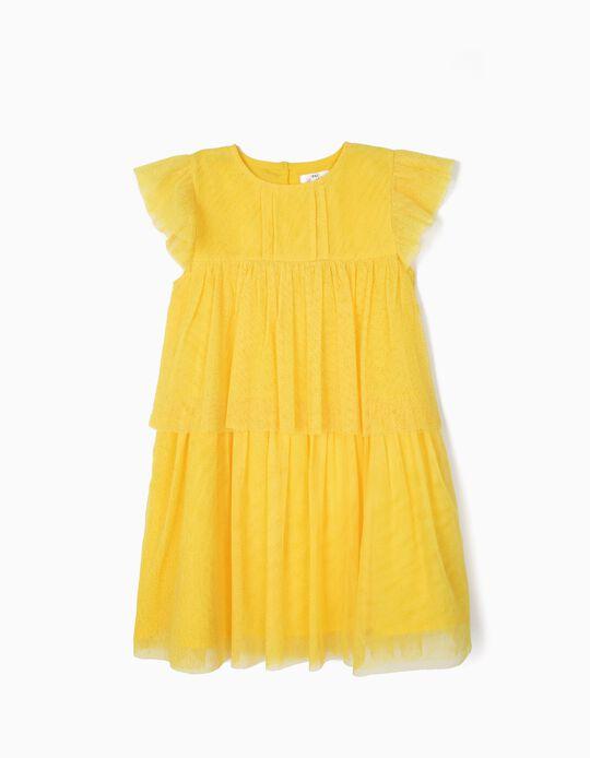 Vestido de Tule para Menina, Amarelo