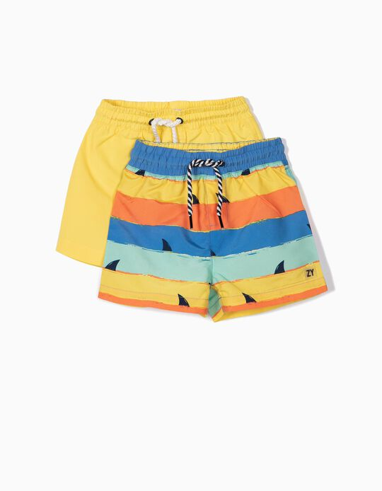 2 Calções de Banho para Bebé Menino 'Sharks', Amarelo
