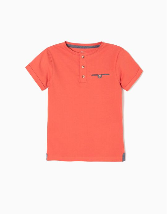 Camiseta con Botones Naranja