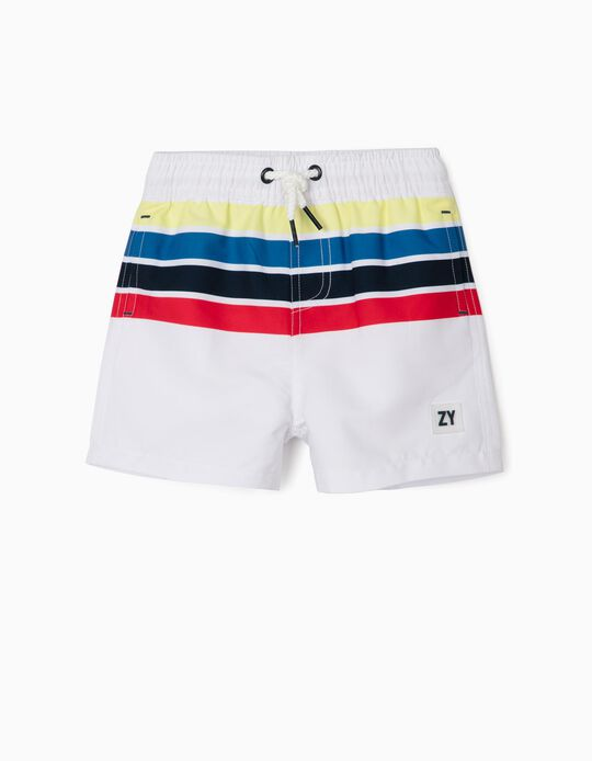 Striped Swim Shorts for Baby Boys, 'Anti-UV 80', White