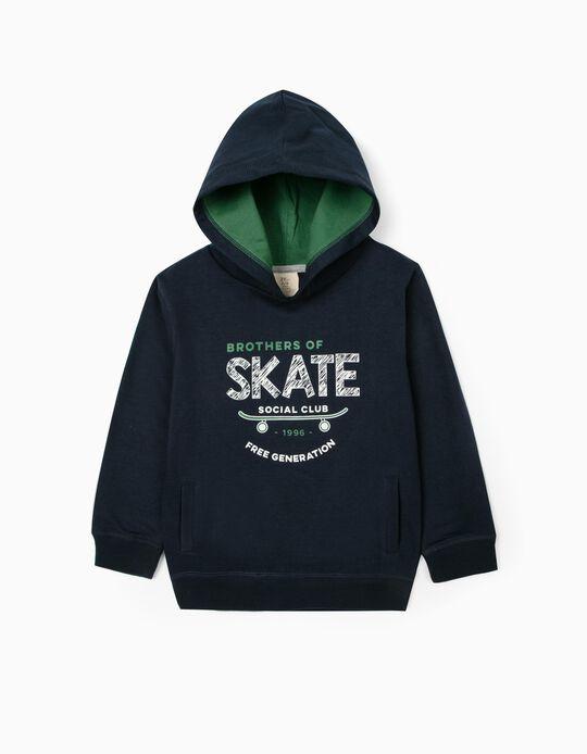 Sweat à capuche garçon 'Skate', bleu foncé