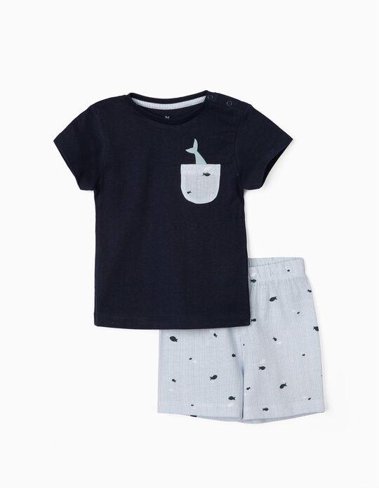 Pyjamas for Baby Boys, 'Fish', Blue