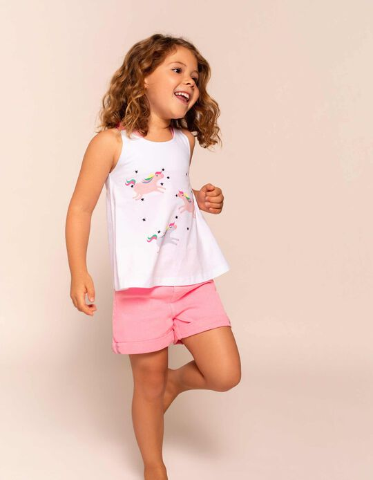 Cami Top for Girls 'Unicorns', White