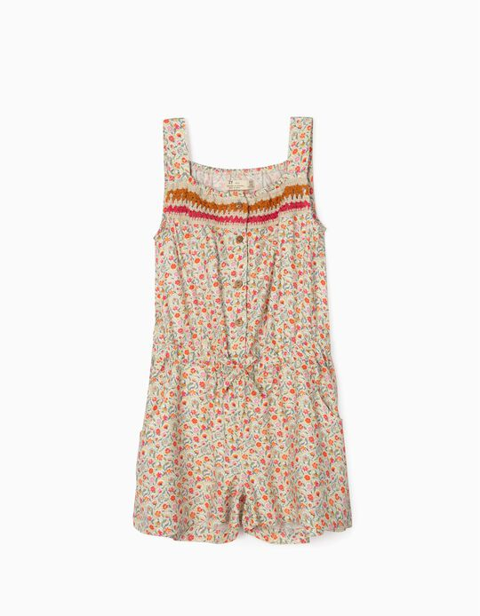 Floral Jumpsuit for Girls, Multicoloured