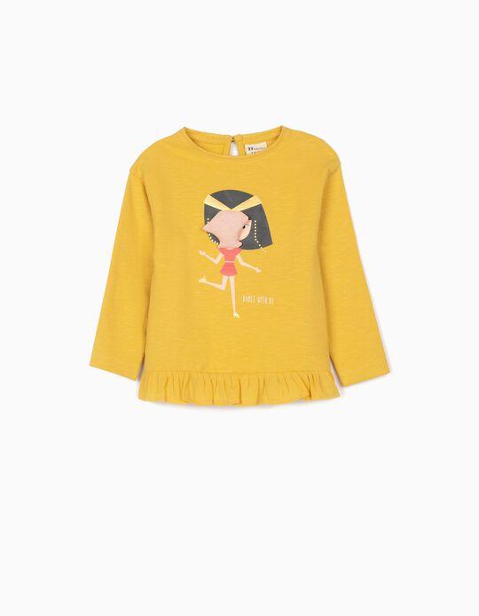 Lightweight Sweatshirt for Baby Girls, 'Dance With Me', Yellow