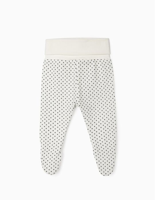 Footed Trousers for Newborn Baby Boys, 'WH', White
