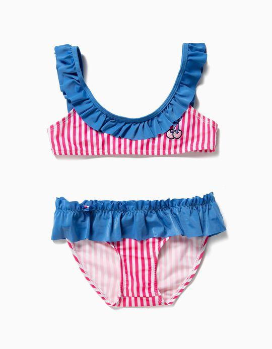 Bikini para Niña 'Cherries', Rosa y Azul