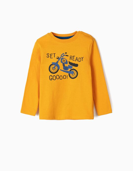 Long Sleeve Top for Baby Boys, 'Motorcycle', Yellow