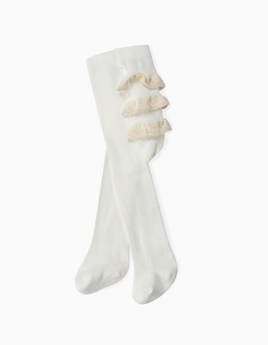 Fine Knit Tights with Broderie Anglaise, for Baby Girls, White