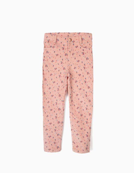 Pantalón de Pana con Flores Rosa