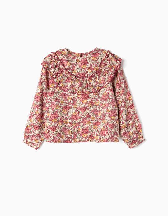Blusa de Flores y Volante para Niña, Rosa