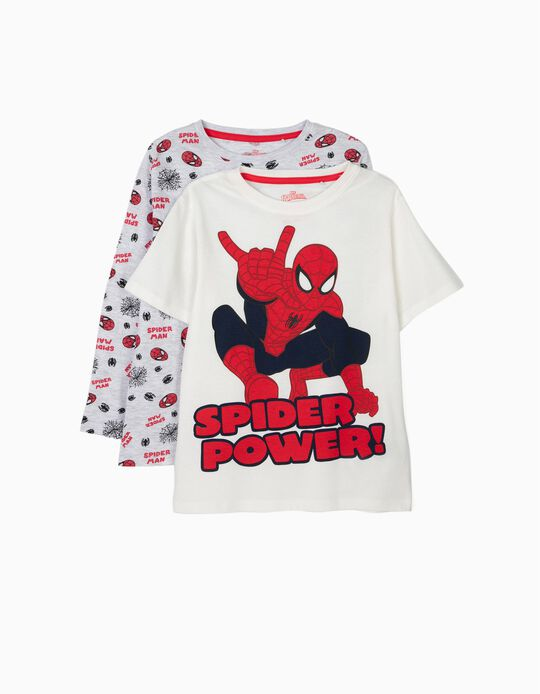 T-shirt + T-shirt Manga Comprida Menino 'Spider-Man', Cinza e Branco