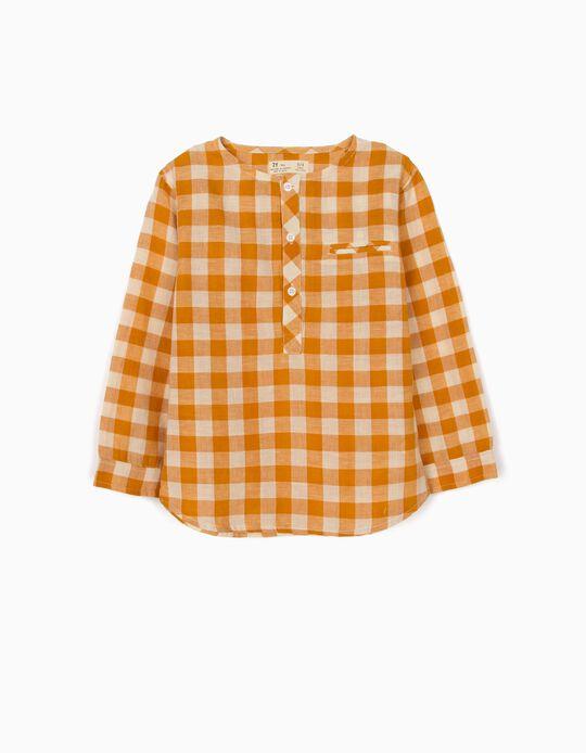 Camisa com Linho para Menino' Vichy', Branco/Camel