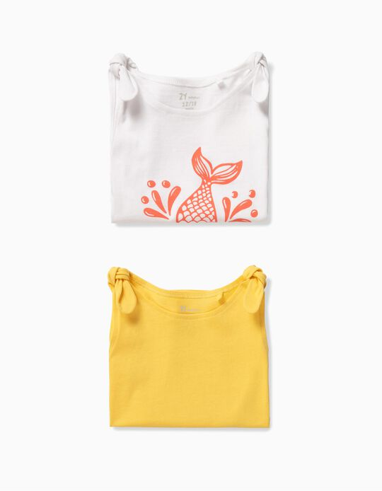 2 Tops para Bebé Niña 'Mini Mermaid', Blanco y Amarillo