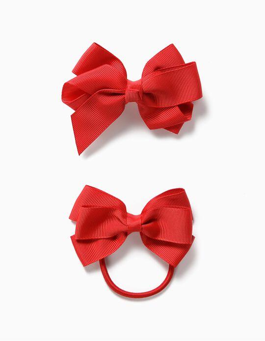 Hair Slide + Bobble for Girls, 'Bows', Red