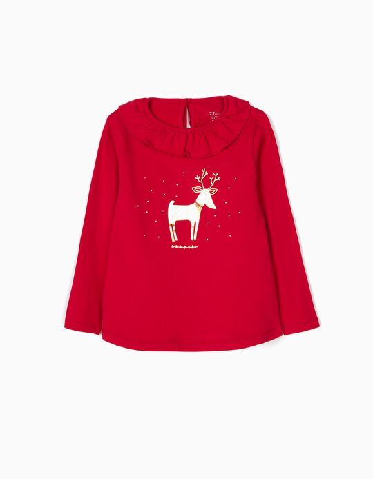 Camiseta de Manga Larga Christmas Deer Roja