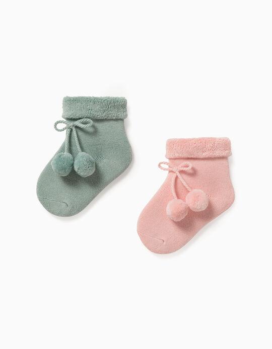 2 Pares de Calcetines para Bebé Niña, Rosa/Verde Agua