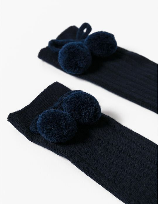 Blue Knee-High Socks with Pompom