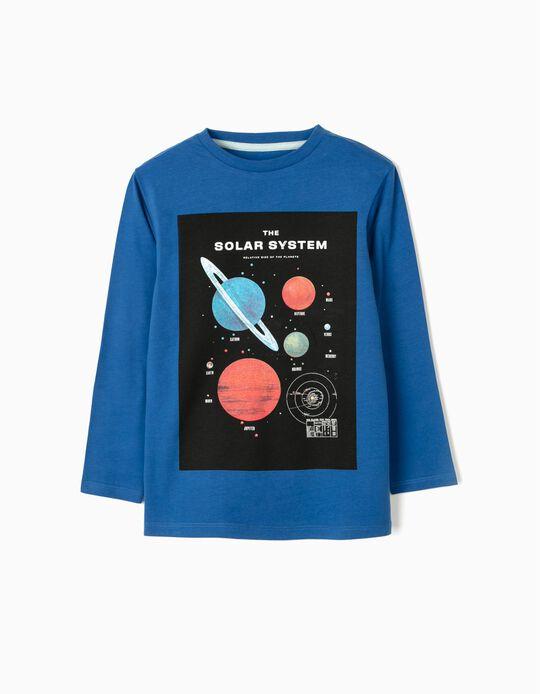 Long Sleeve Top for Boys, 'Solar System', Blue