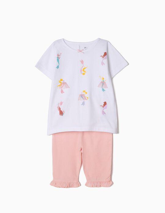 Pijama para Menina 'Mermaids', Branco e Rosa