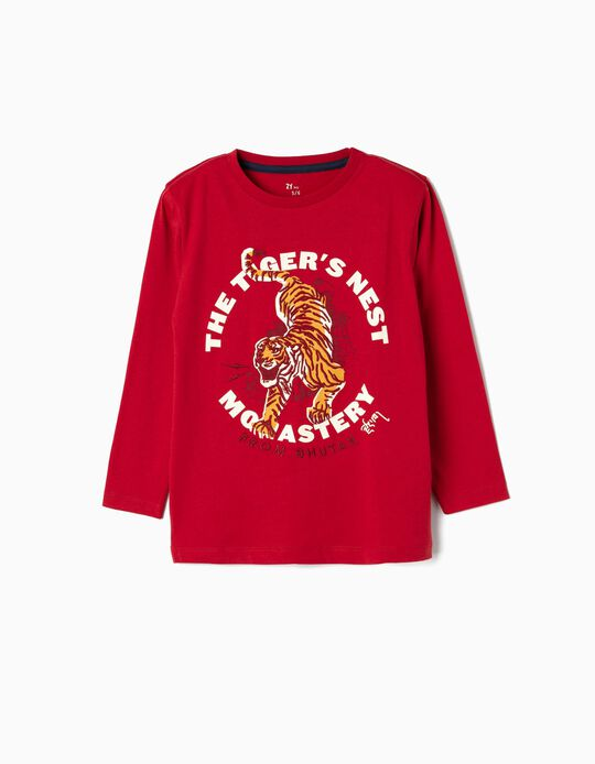 Camiseta de Manga Larga para Niño 'Tiger', Roja