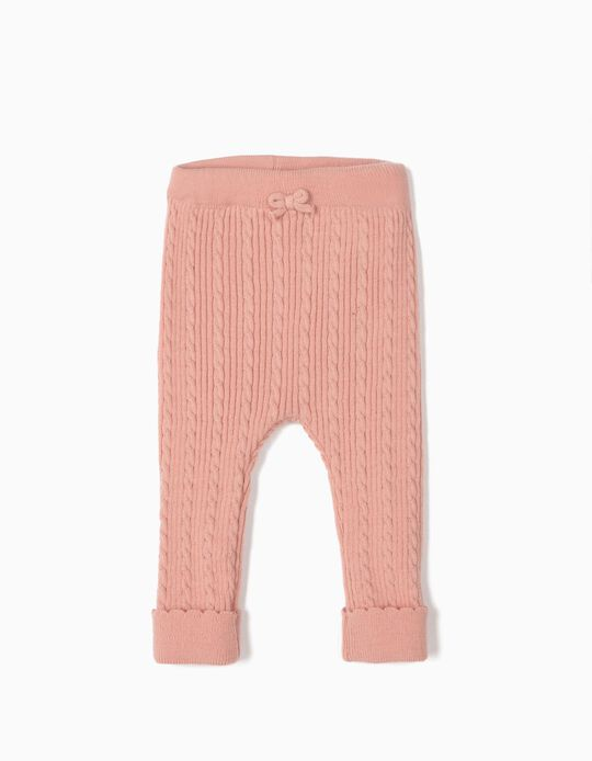 Knit Trousers for Newborn Girls, Pink